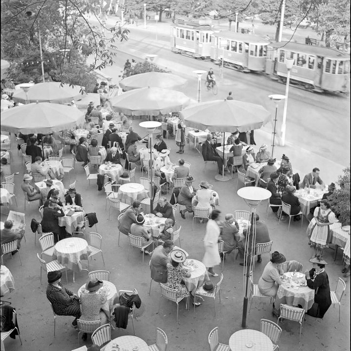 Café in front of the Convention Center, 1939